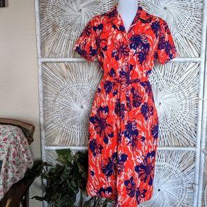 Dress: Vintage Polyester Red, White & Blue Floral